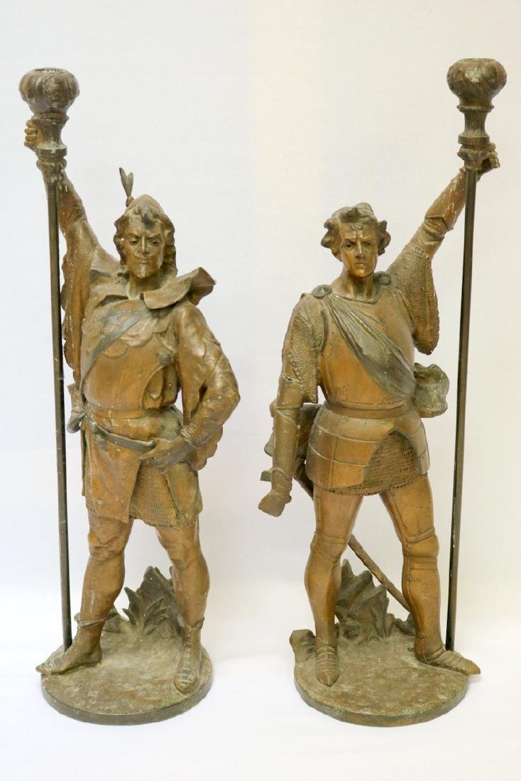 Pair of Antique French Bronze Knight Candle Holders