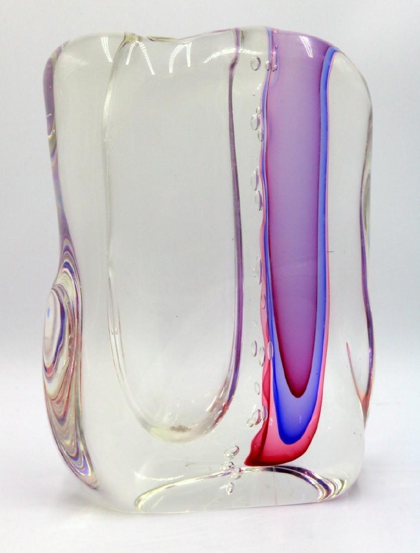 """Gino Onesto """"Sommerso"""" Murano Italian Art Glass Vessel"""