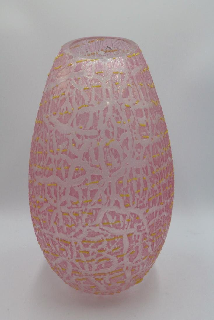 Alfredo Rossi Pink & Yellow Murano Art Glass Vase - 4