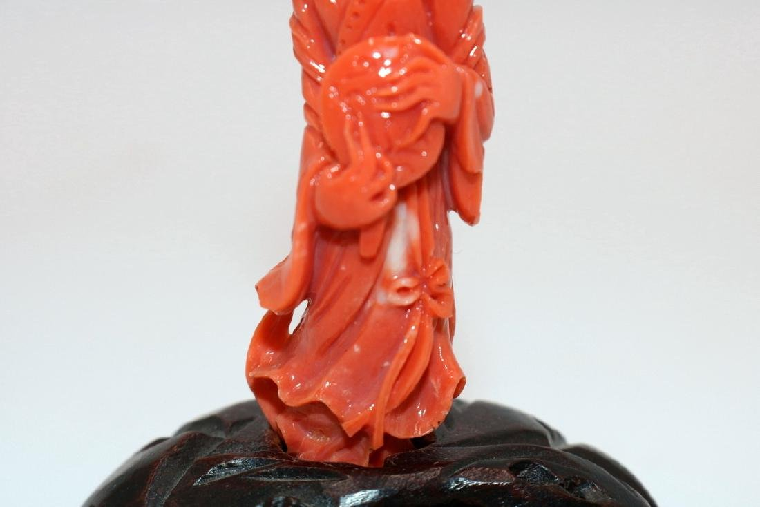Chinese High Quality Carved Coral Quan Yin - 3