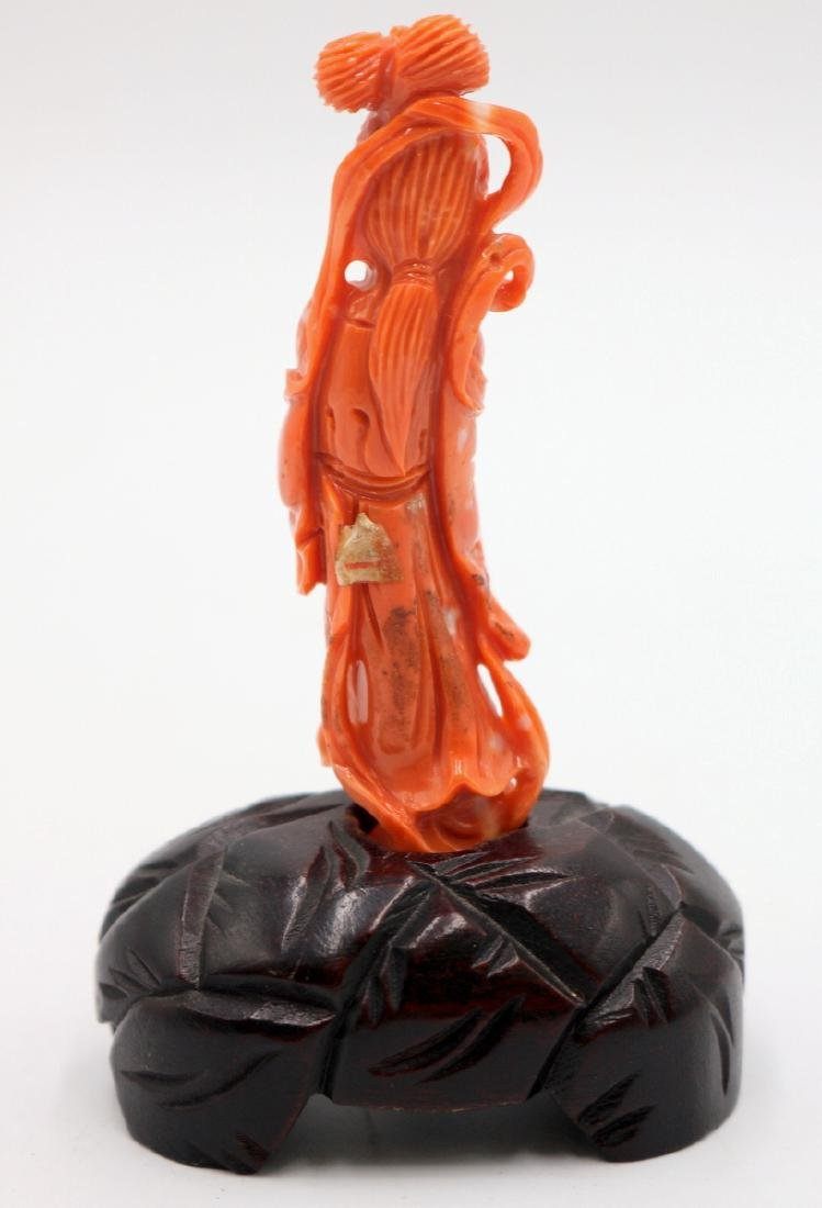 Chinese High Quality Carved Coral Quan Yin - 5