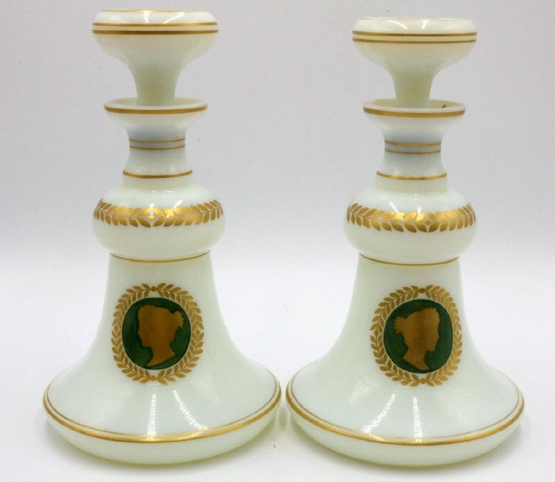 French Hand Painted White Opaline Glass Decanters