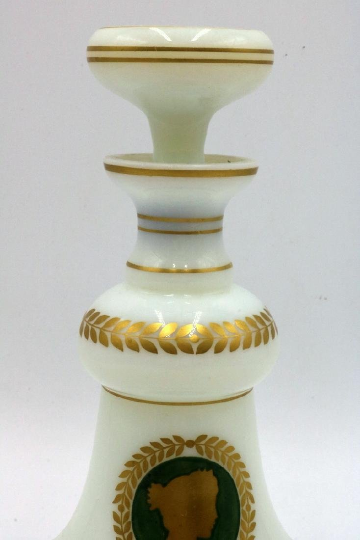 French Hand Painted White Opaline Glass Decanters - 4