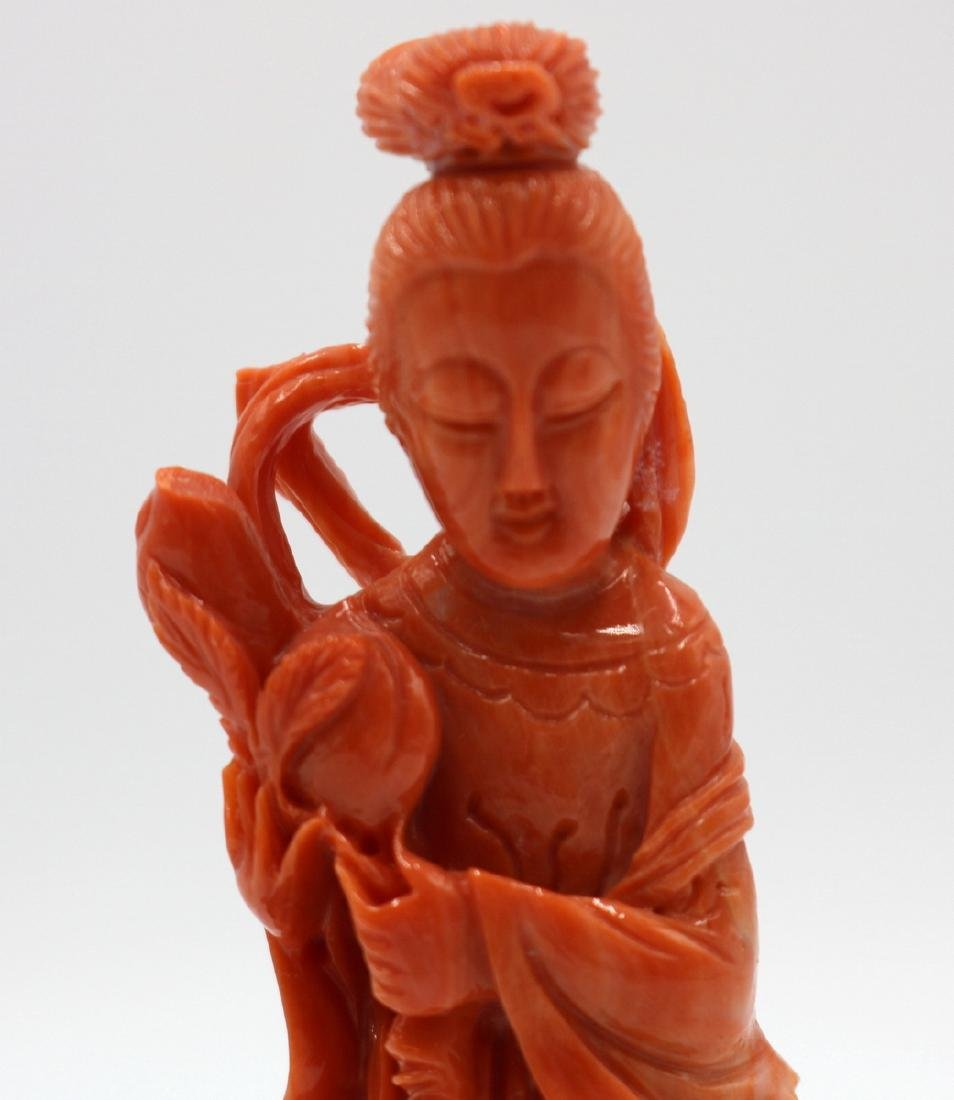 Chinese High Quality Carved Coral Quan Yin - 2