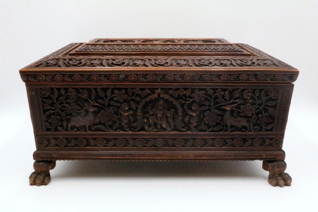 19th C. Anglo-Indian Hand Carved Wooden Travel Box