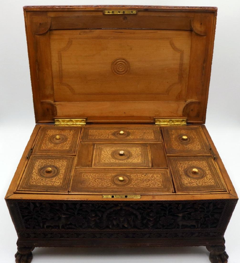 19th C. Anglo-Indian Hand Carved Wooden Travel Box - 4