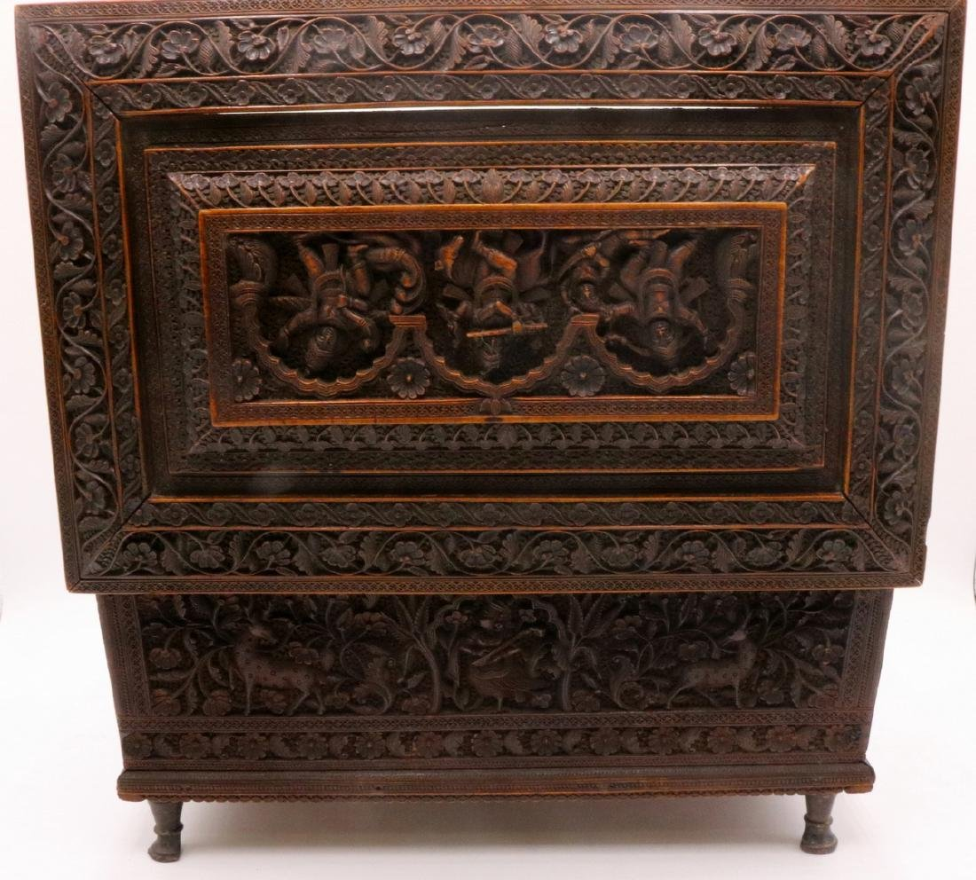 19th C. Anglo-Indian Hand Carved Wooden Travel Box - 7