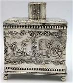Antique Dutch Figural Sterling Silver Tea Caddy