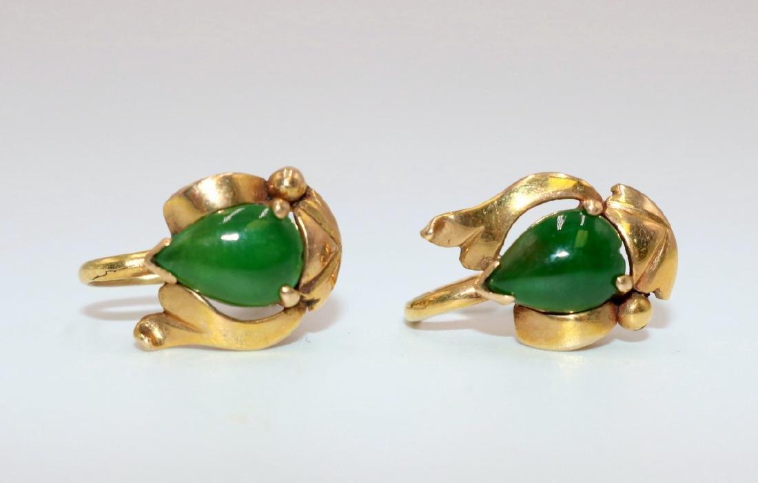 14Kt YG Jade Earrings - 2