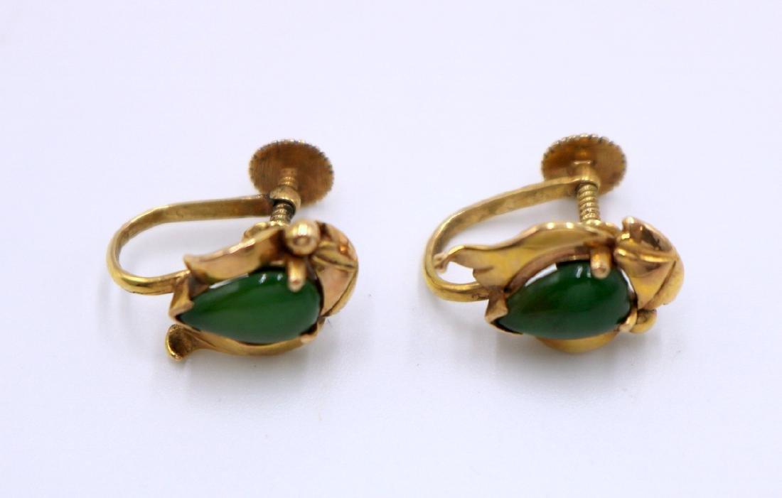 14Kt YG Jade Earrings - 3