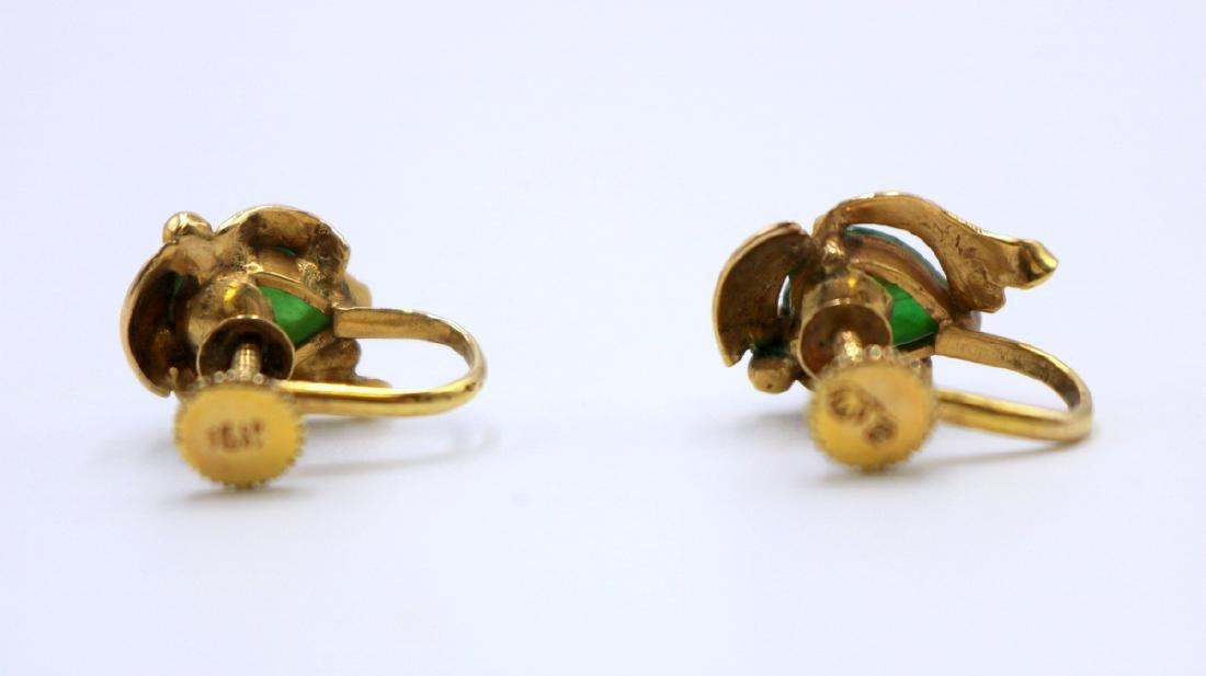 14Kt YG Jade Earrings - 4
