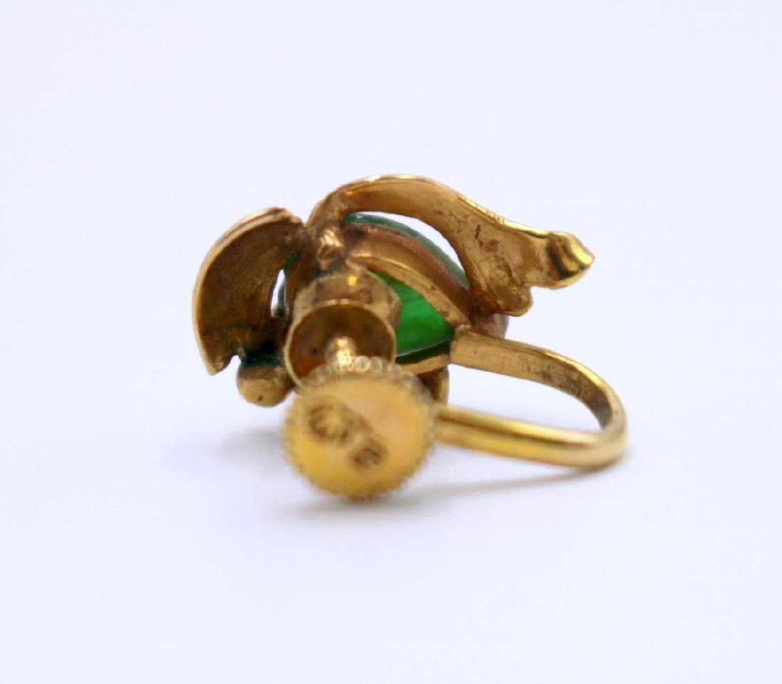 14Kt YG Jade Earrings - 5