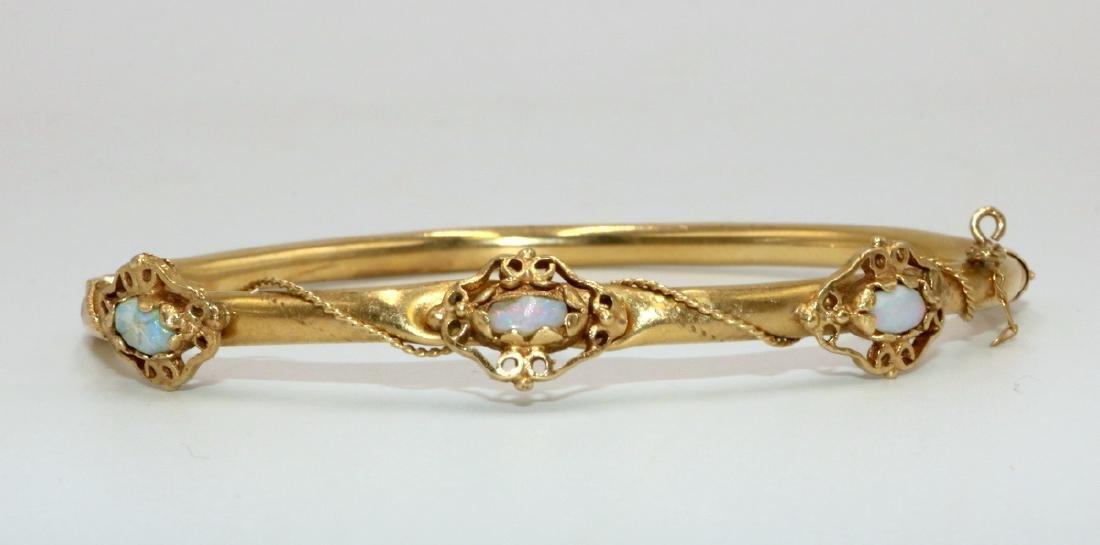 14Kt YG Opal Bangle Bracelet