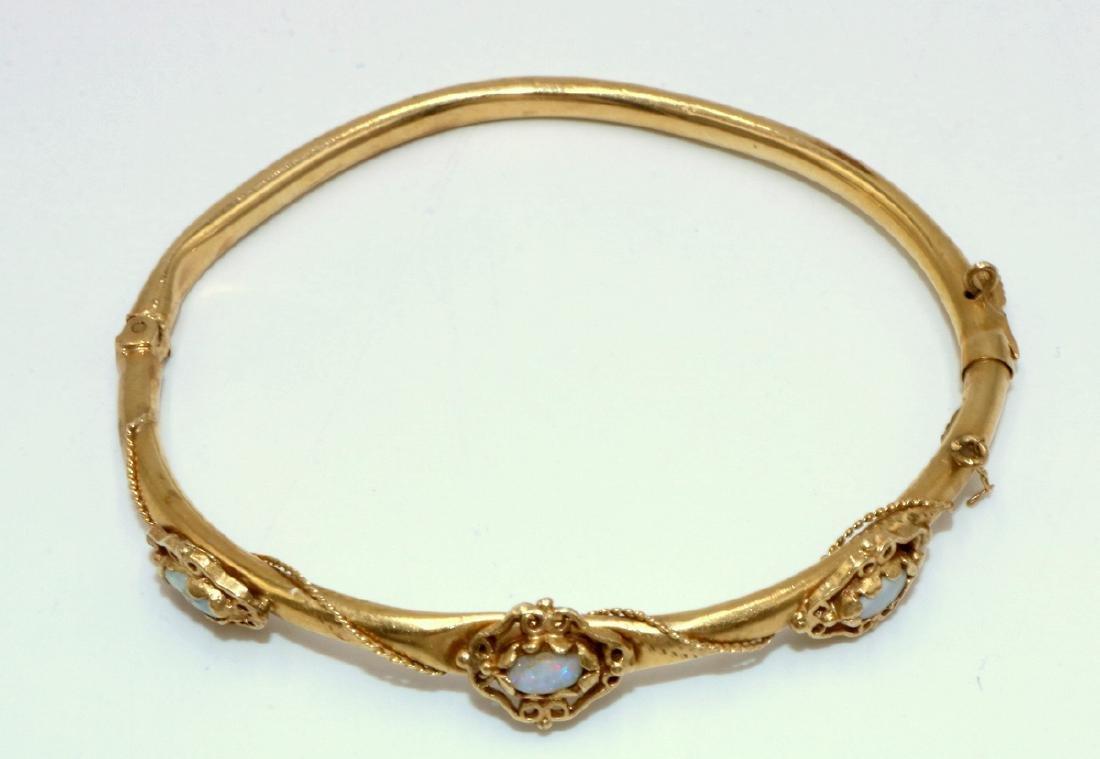14Kt YG Opal Bangle Bracelet - 2