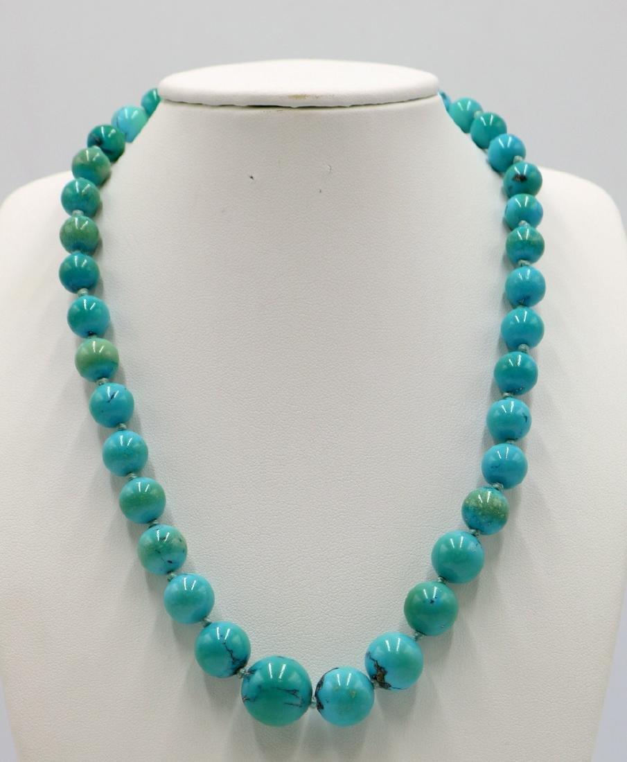 14Kt YG Graduating Turquoise Beaded Necklace