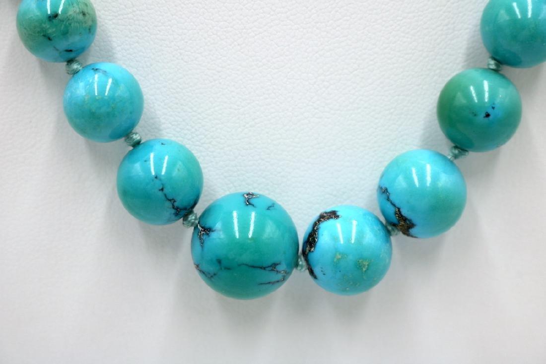 14Kt YG Graduating Turquoise Beaded Necklace - 2