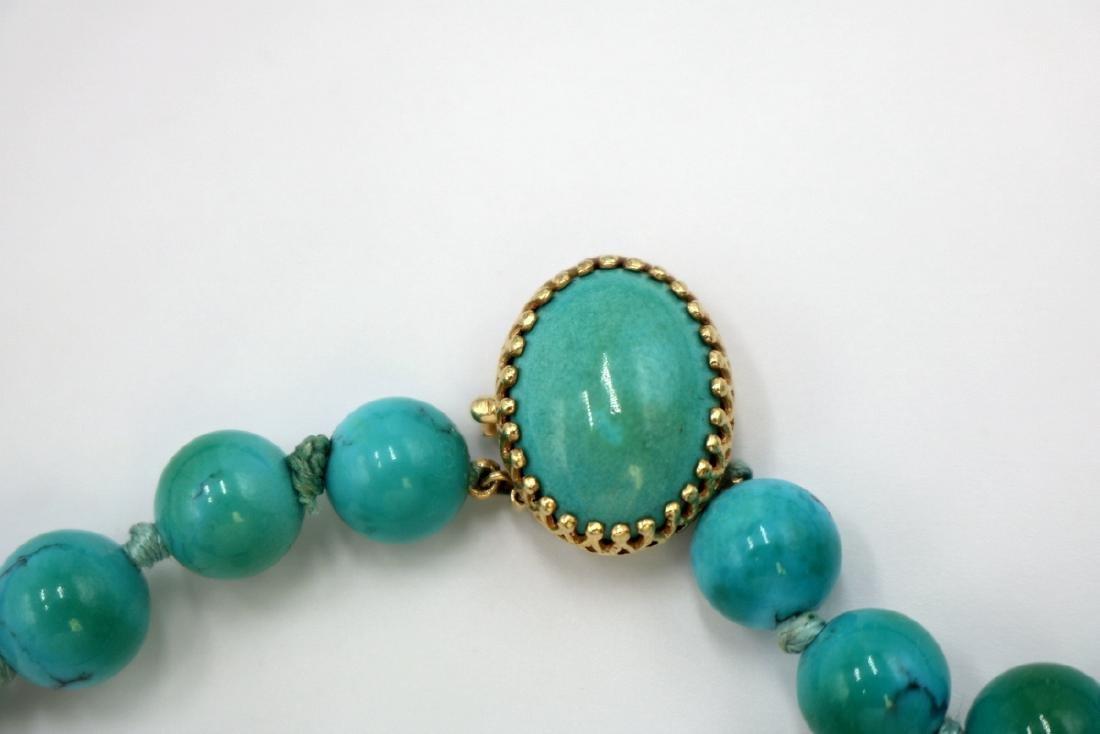14Kt YG Graduating Turquoise Beaded Necklace - 3