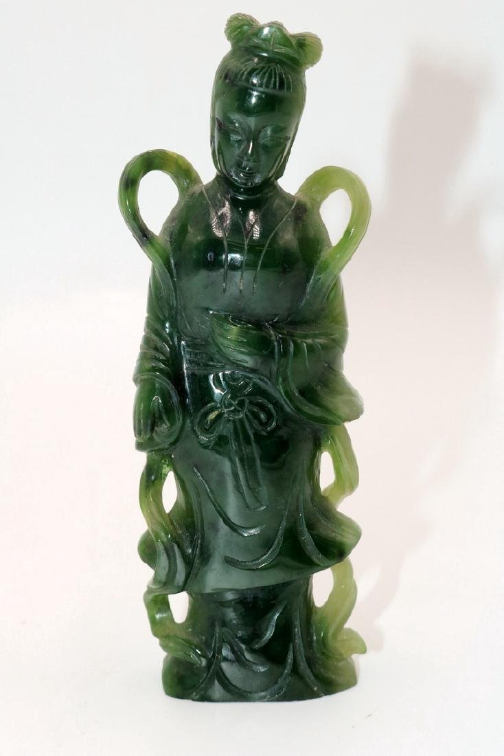 Chinese Carved Spinach Green Jade Quan Yin