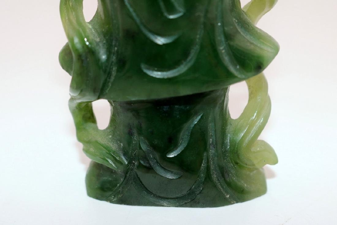 Chinese Carved Spinach Green Jade Quan Yin - 4
