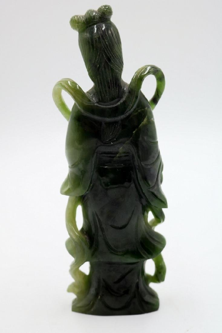 Chinese Carved Spinach Green Jade Quan Yin - 5