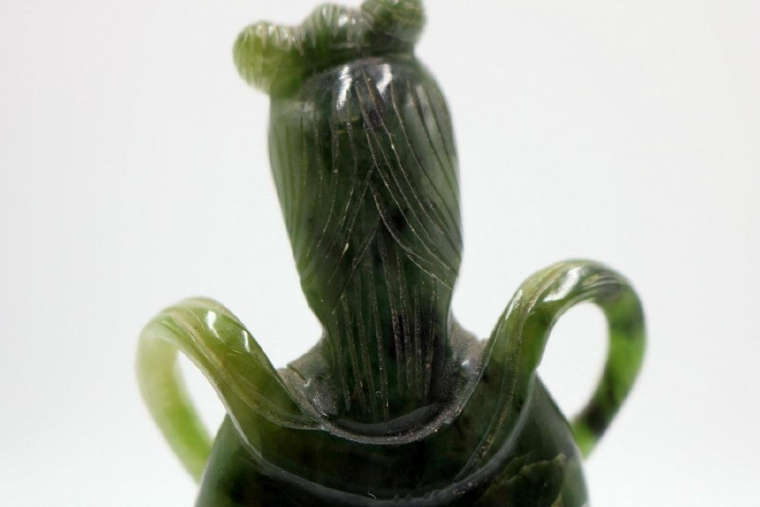 Chinese Carved Spinach Green Jade Quan Yin - 6