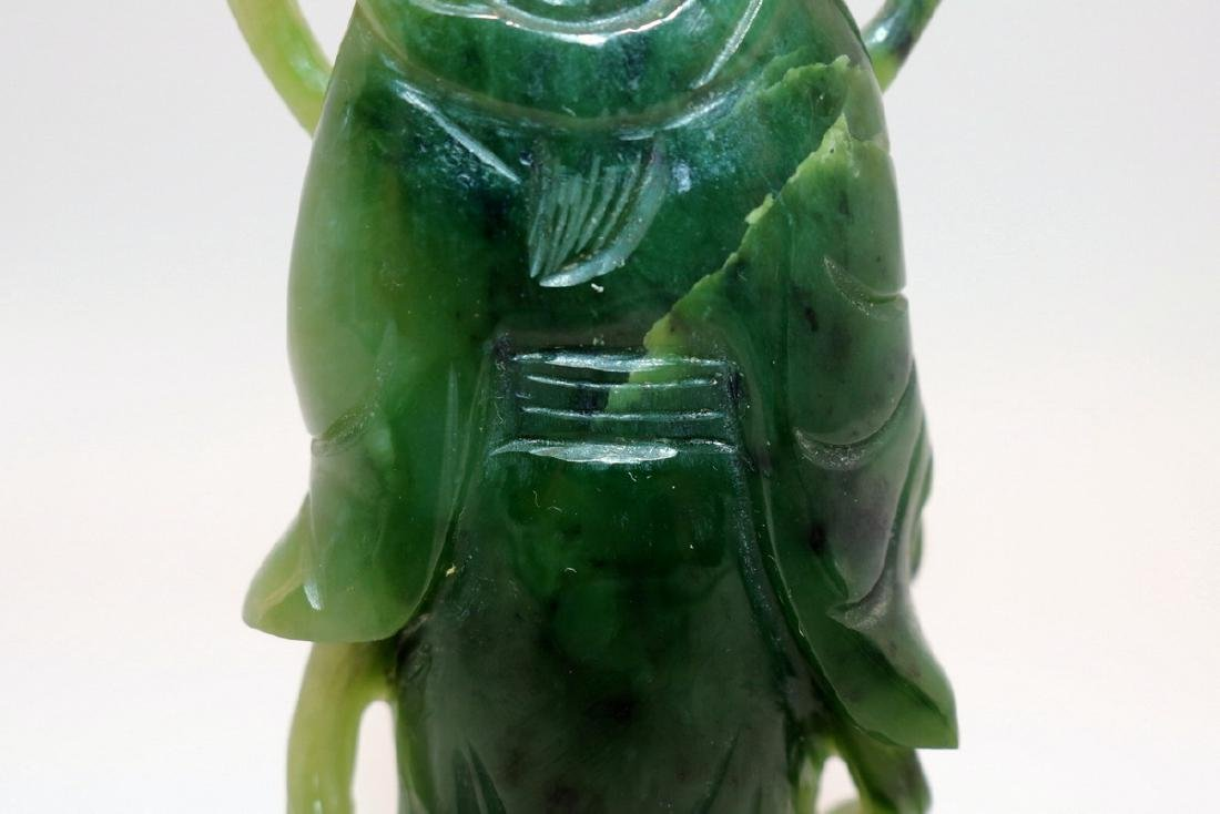 Chinese Carved Spinach Green Jade Quan Yin - 7