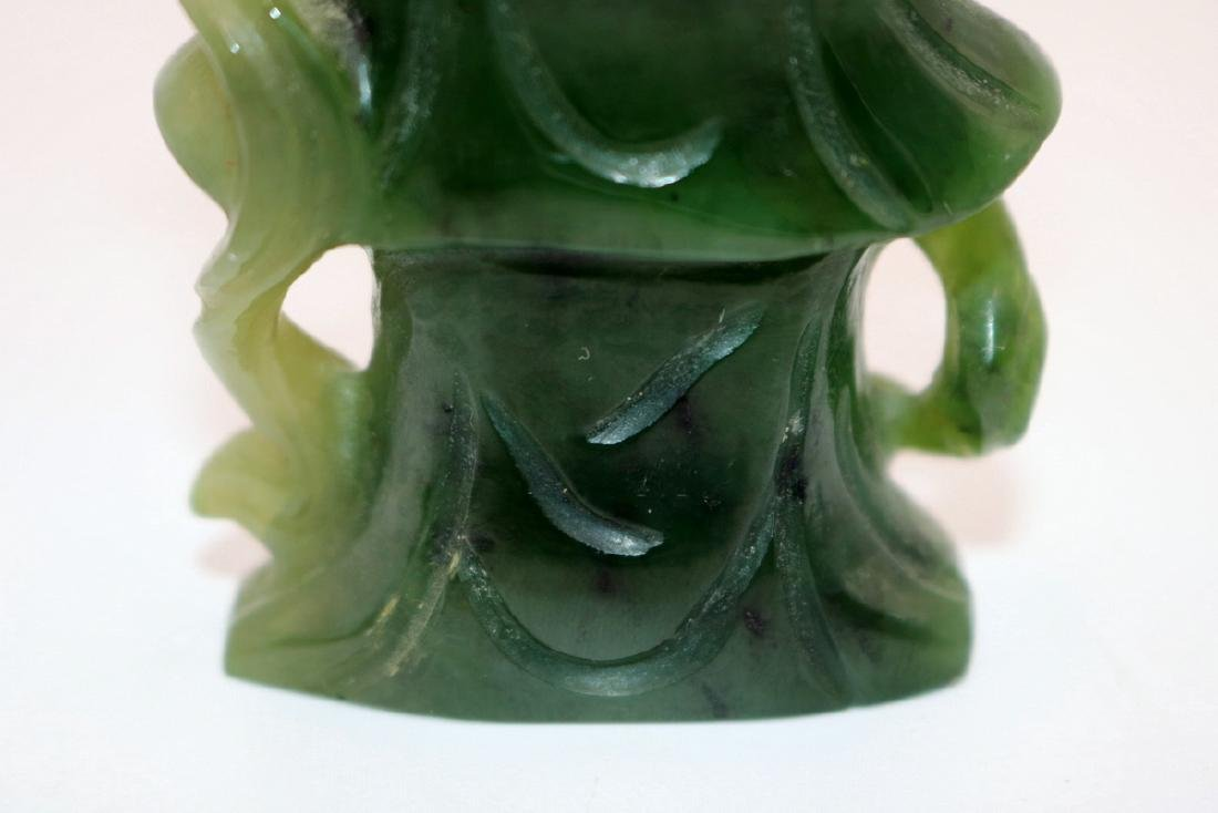 Chinese Carved Spinach Green Jade Quan Yin - 8
