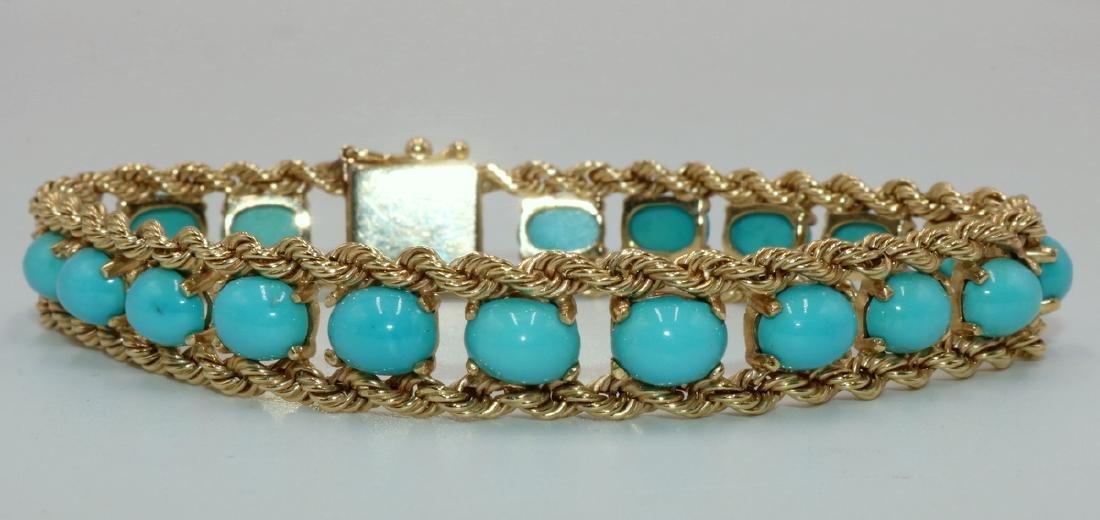 Signed Pacific Gem 14Kt YG & Turquoise Bracelet