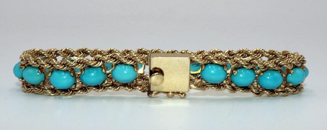 Signed Pacific Gem 14Kt YG & Turquoise Bracelet - 2
