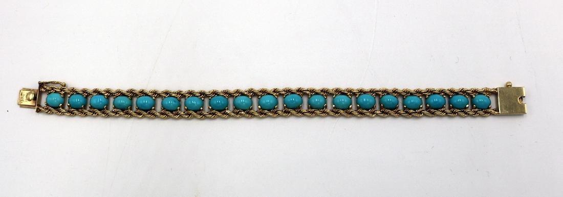 Signed Pacific Gem 14Kt YG & Turquoise Bracelet - 3