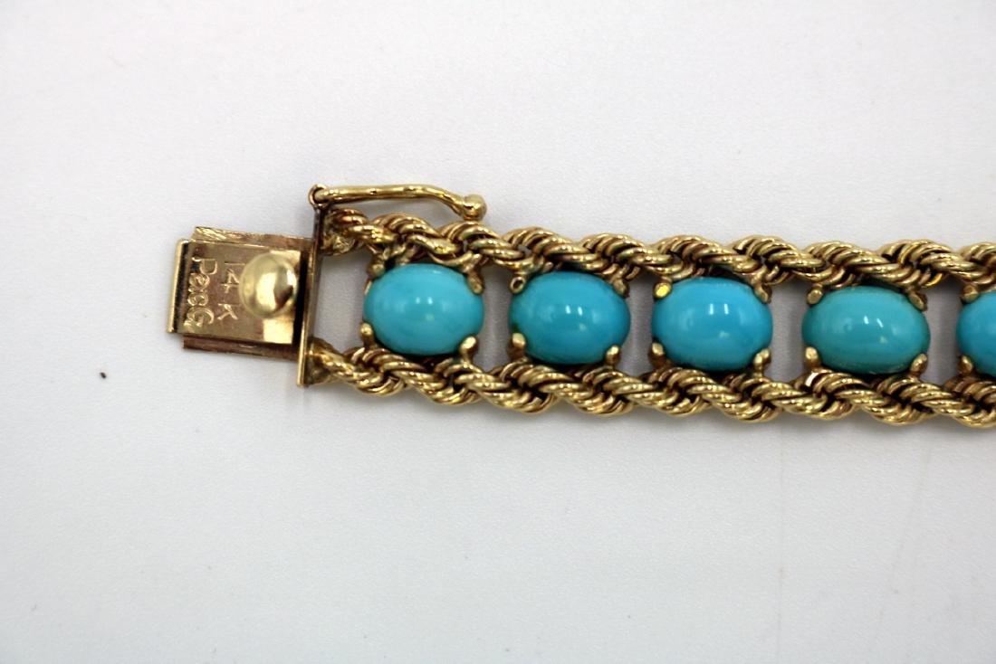 Signed Pacific Gem 14Kt YG & Turquoise Bracelet - 4