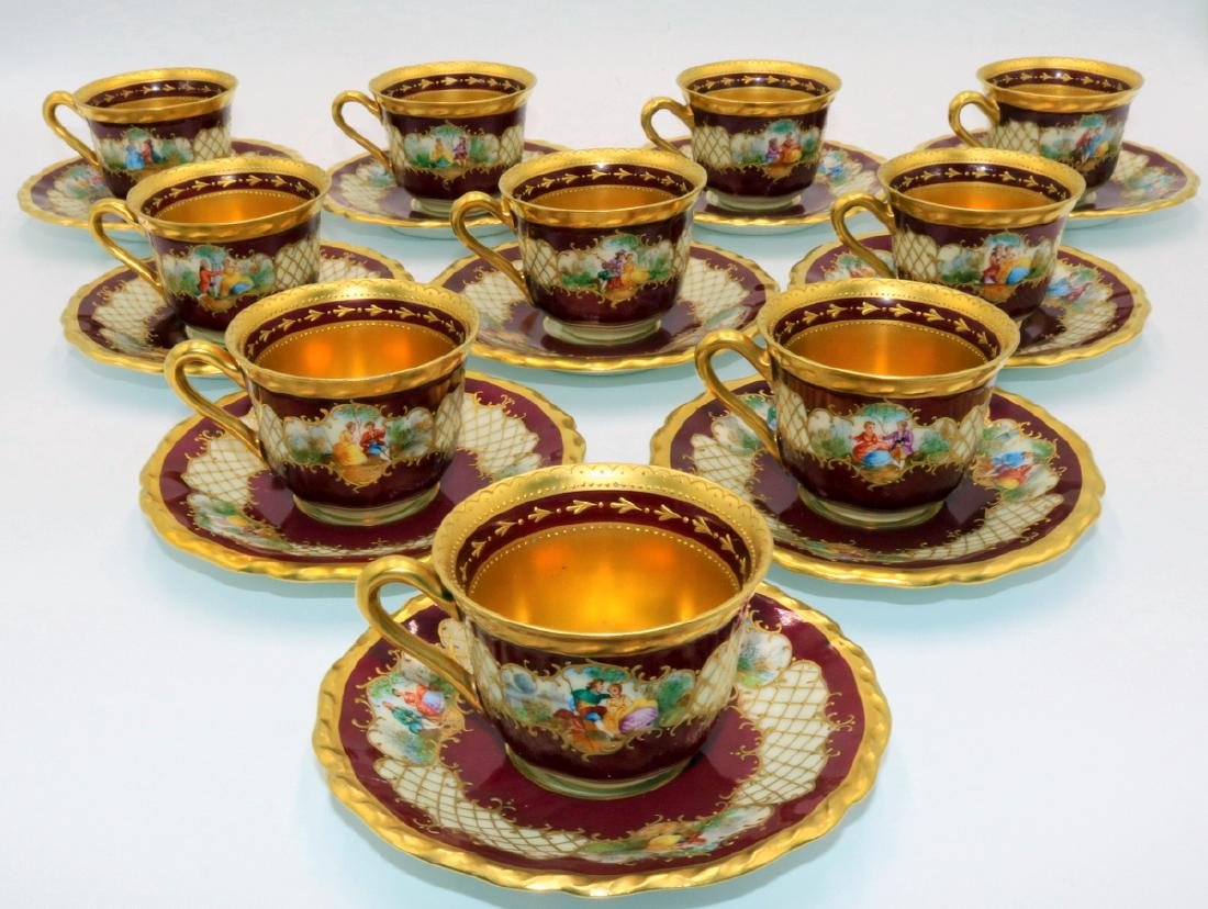 20 Pc. Hutschenreuther Hand Painted Porcelain Cups &
