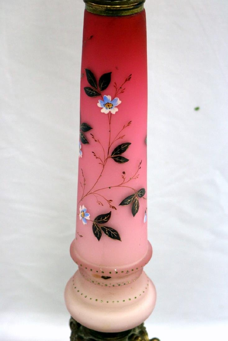 French Hand Painted Opaline Glass Column Lamp - 2