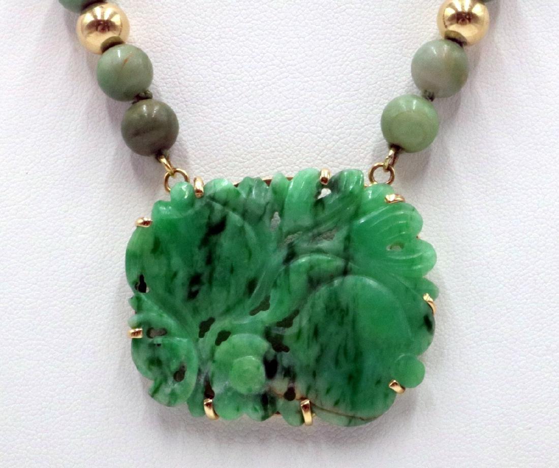 Stunning 14Kt YG & Jade Beaded Necklace - 2
