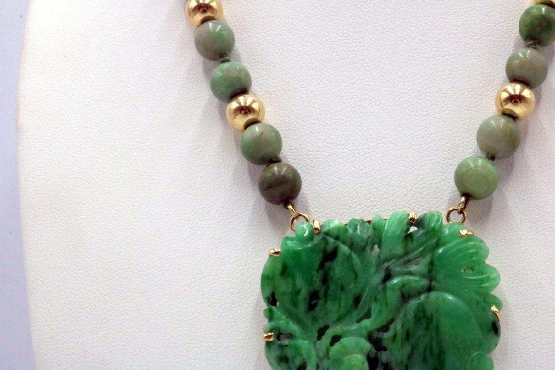 Stunning 14Kt YG & Jade Beaded Necklace - 3