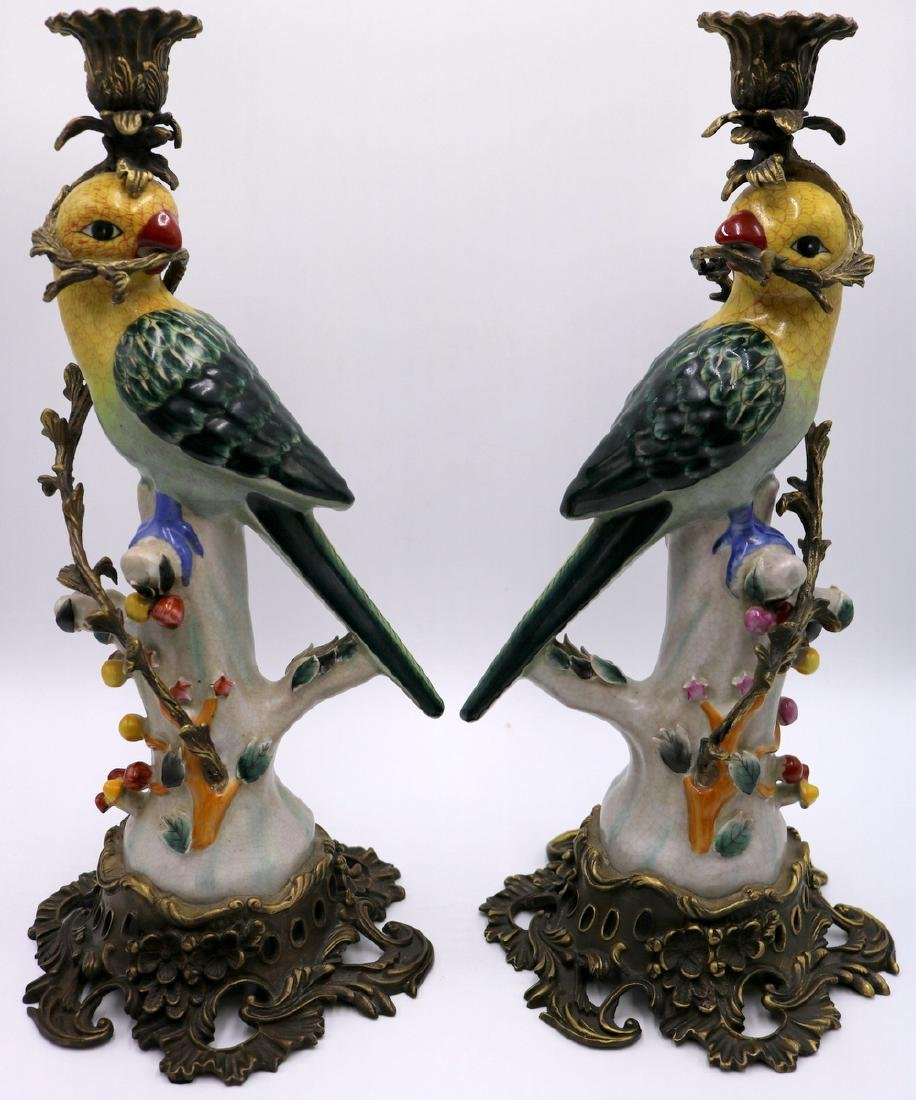 Pair of Antique Chinese Hand Painted Porcelain Parrots