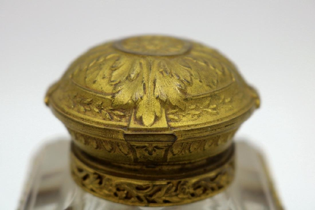 Beautiful French Bronze Mounted & Crystal Inkwell - 3