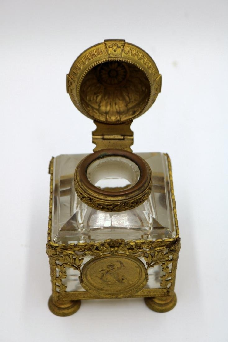 Beautiful French Bronze Mounted & Crystal Inkwell - 5