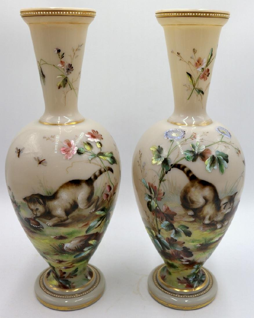 Pair of Antique French Hand Painted Opaline Glass Vases