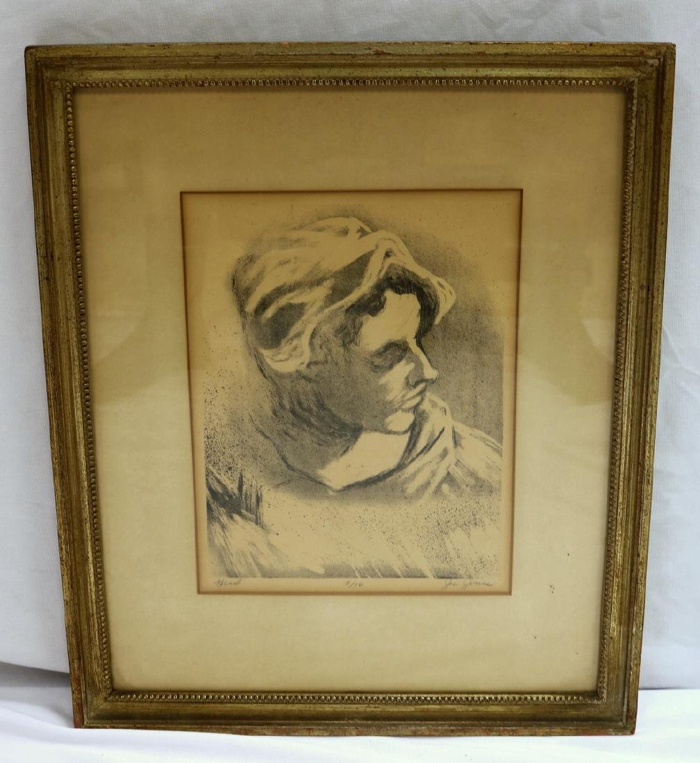 "Joe Jones (American 1909-1963) ""Head"" Lithograph - 2"