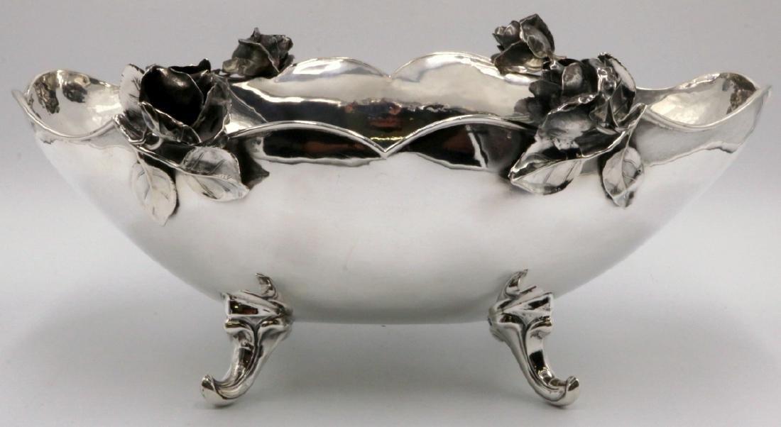 Rare Del Pilar Peru Sterling Rose Footed Bowl