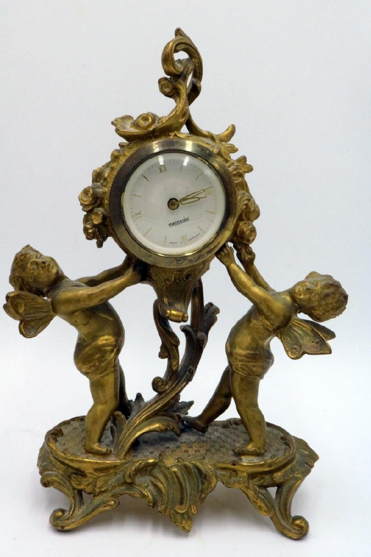 Vintage Mercedes German Bronze Clock Set - 5