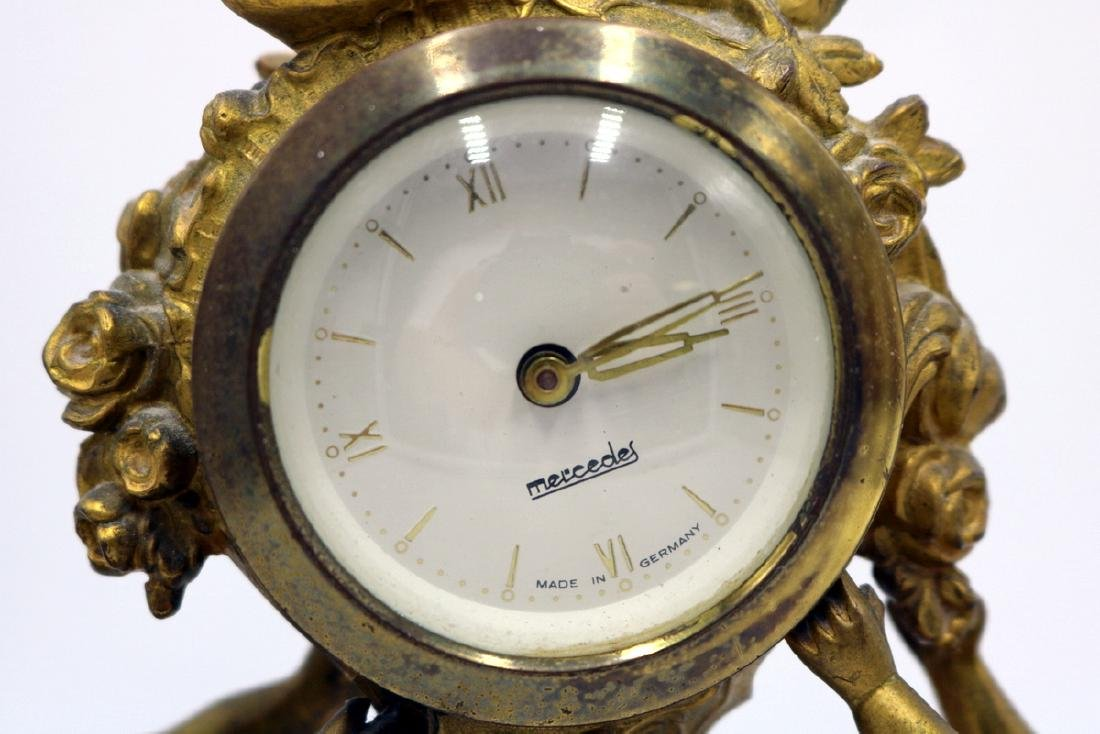 Vintage Mercedes German Bronze Clock Set - 7