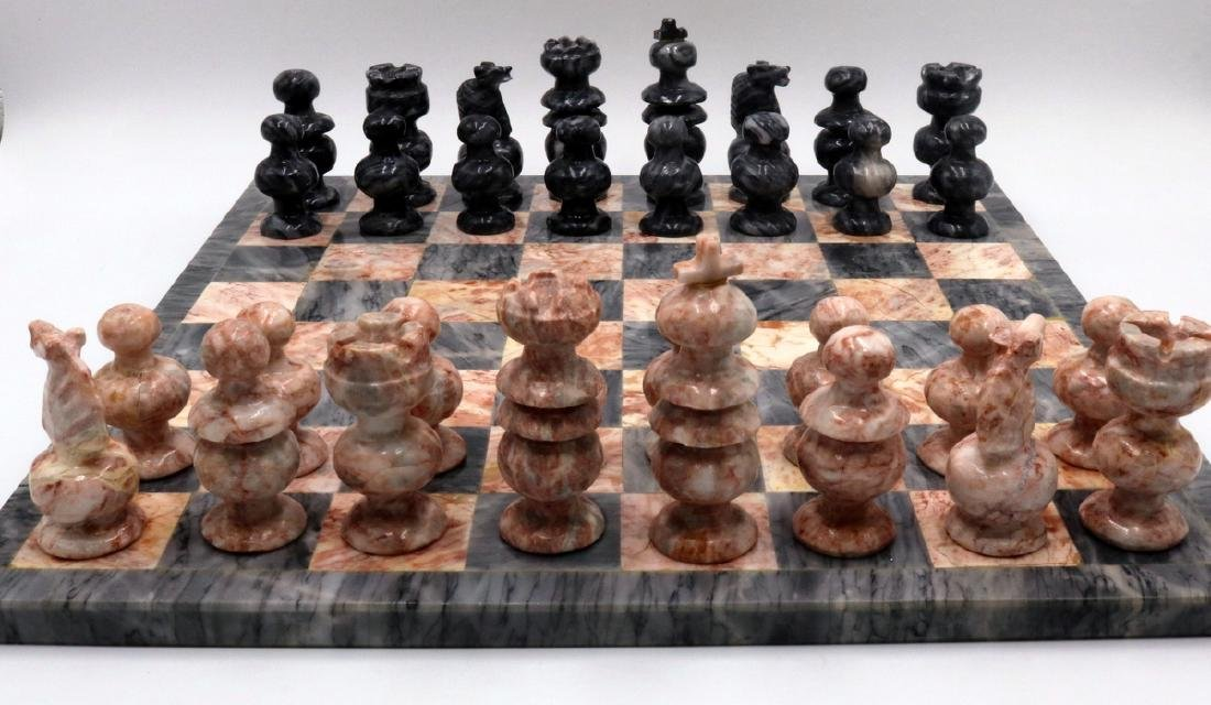 Grey & Pink Marble Chess Set - 2