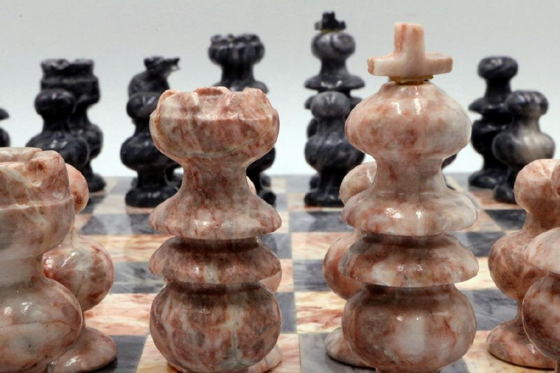 Grey & Pink Marble Chess Set - 3