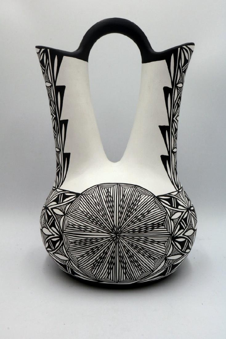 Native American Sun Flower Taos Black & White Pottery