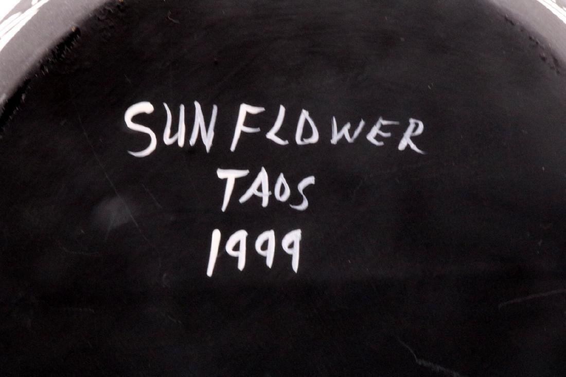 Native American Sun Flower Taos Black & White Pottery - 5