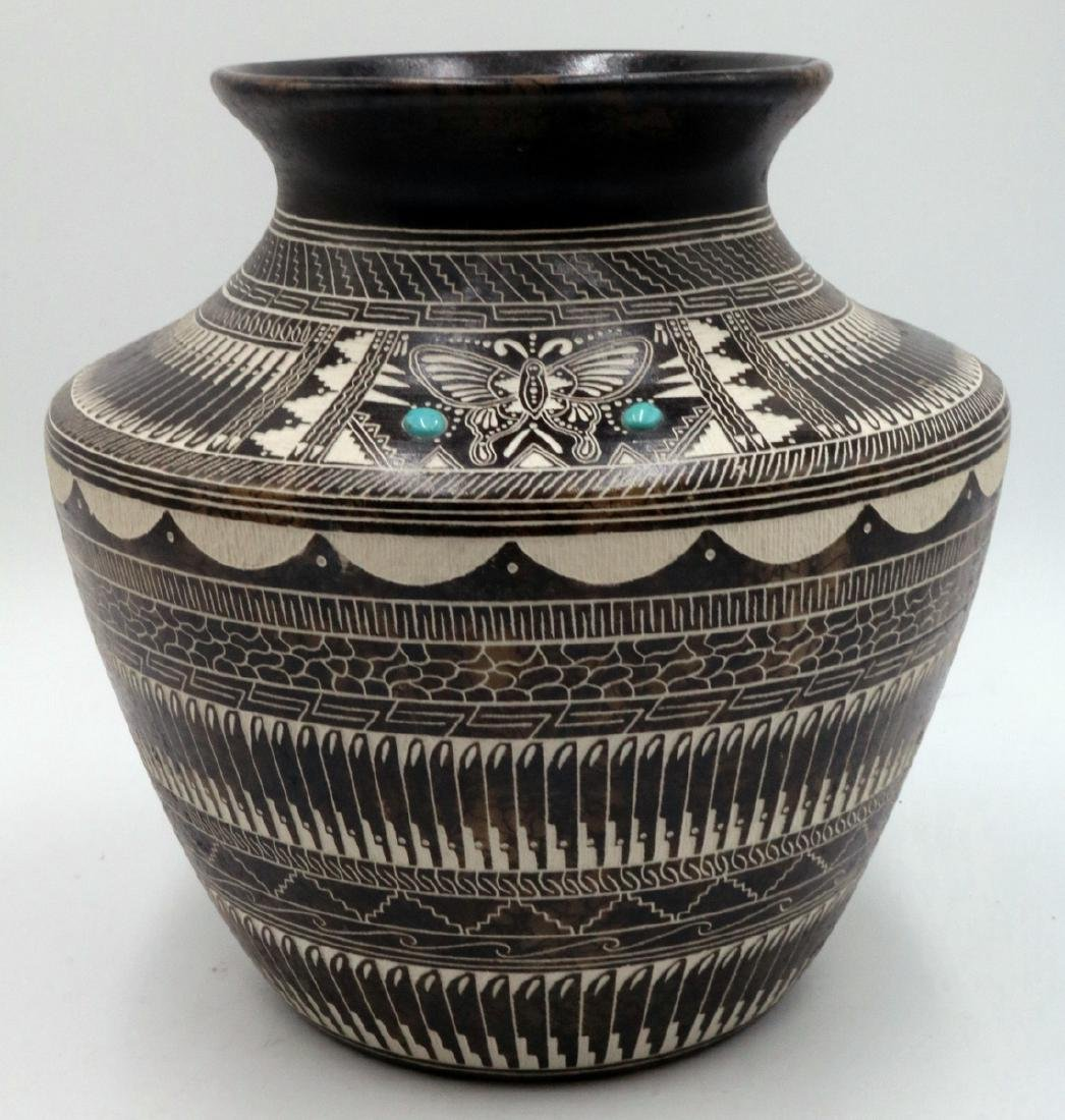 Myron Charley Navajo Etched Native American Vase