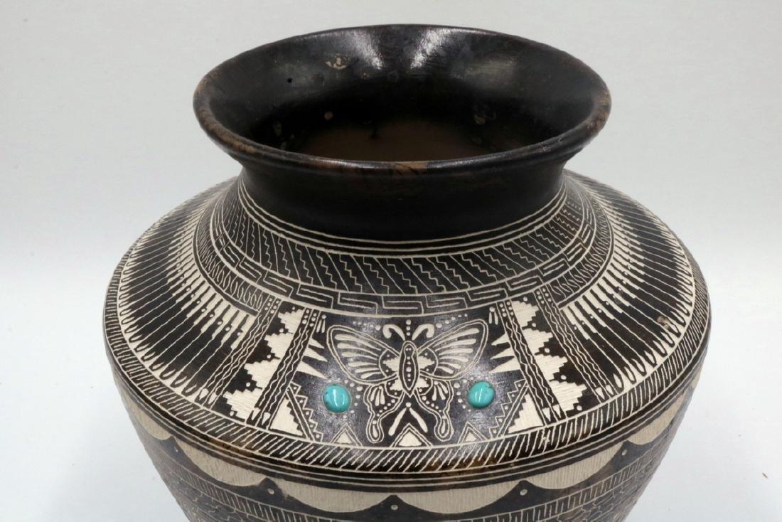 Myron Charley Navajo Etched Native American Vase - 3