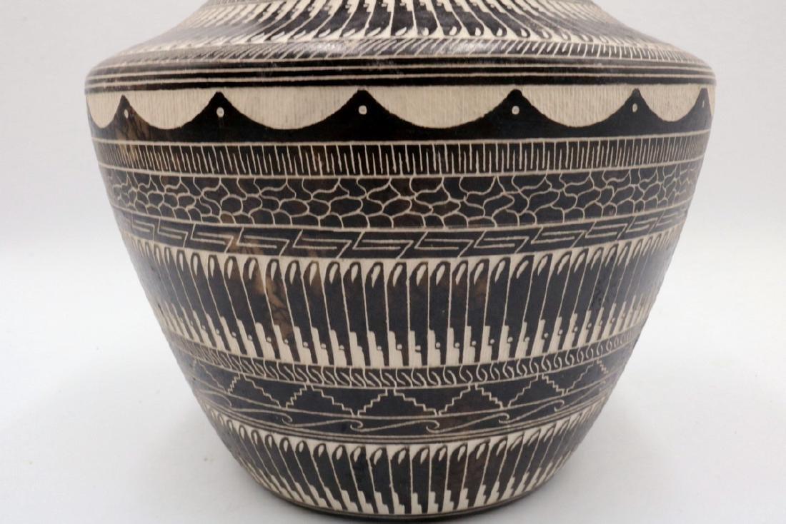 Myron Charley Navajo Etched Native American Vase - 4